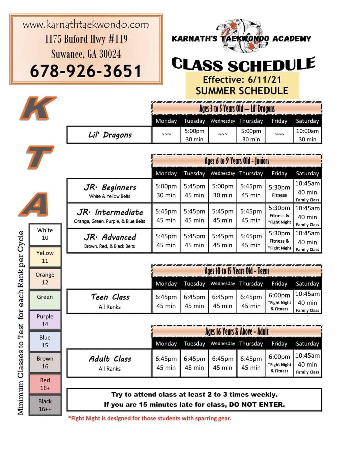 Karnathtaekwondo-Schedule